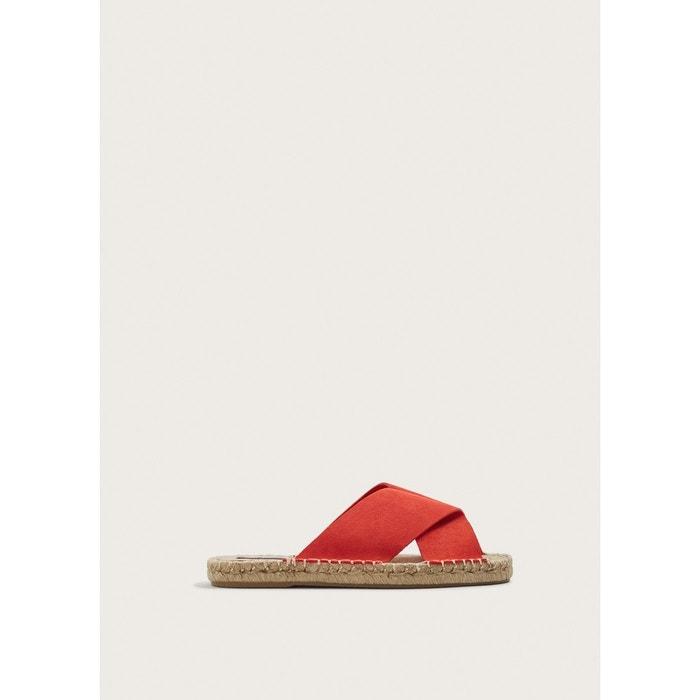 Sandales croisées suède  rouge Violeta By Mango  La Redoute