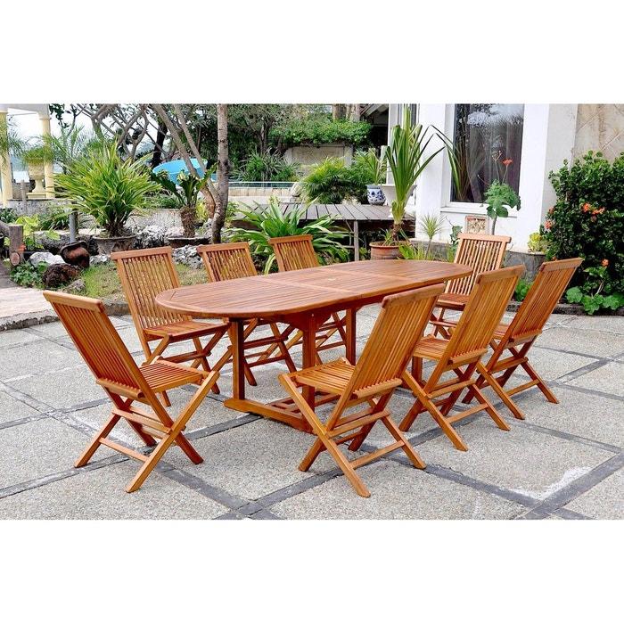 Lubok salon de jardin teck huil 8 personnes table for Usine deco jardin