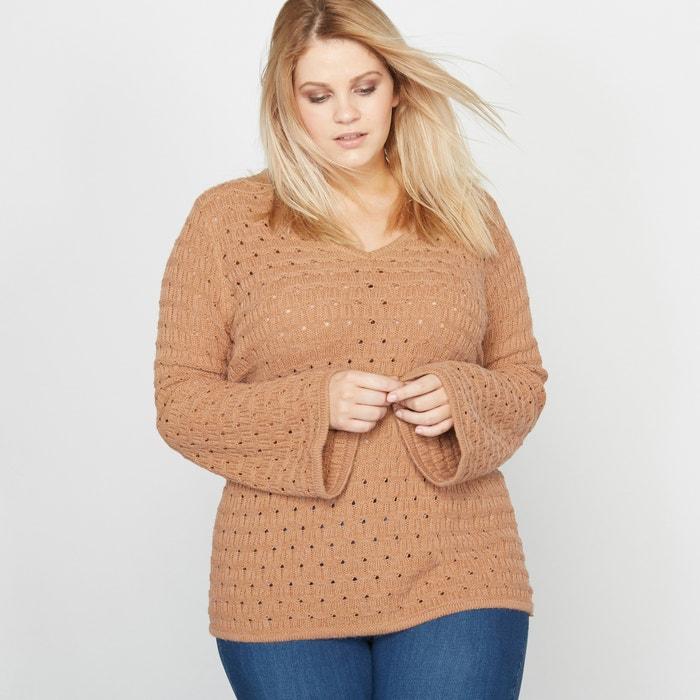 Image Openwork V-Neck Jumper/Sweater with Pagoda Sleeves CASTALUNA