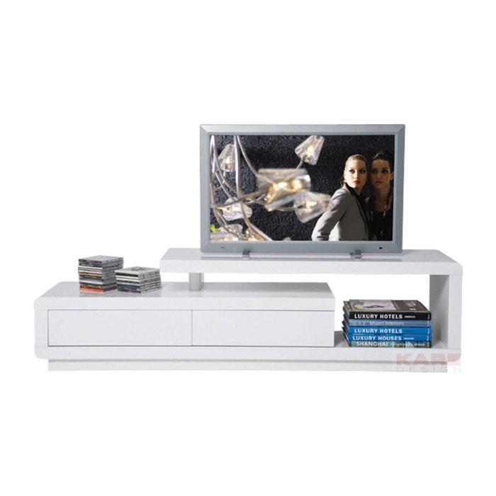 Meuble tv blanc laqu loft 2 tiroirs kare design blanc for Meuble tv redoute