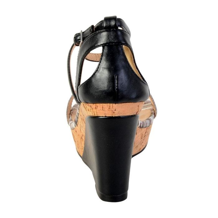 Sandale compensée tdf2918 noir noir The Divine Factory