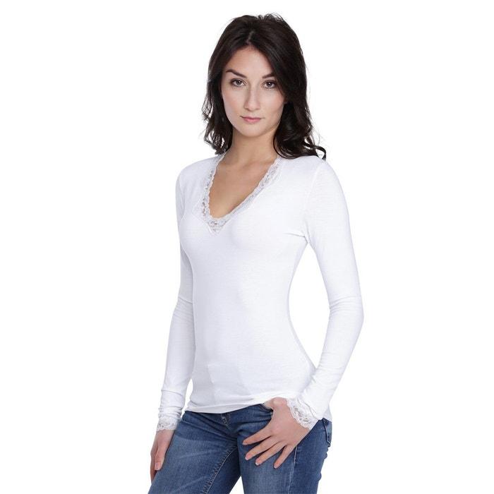 a357bc804c09 T-shirt col v dentelle manches longues en modal julie Rendez-Vous Paris