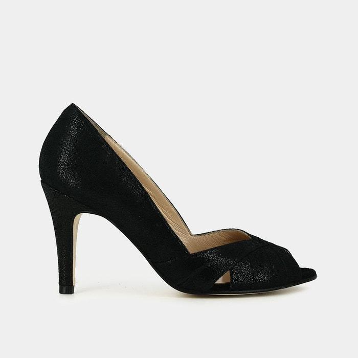 Escarpins cuir irisé, Noir