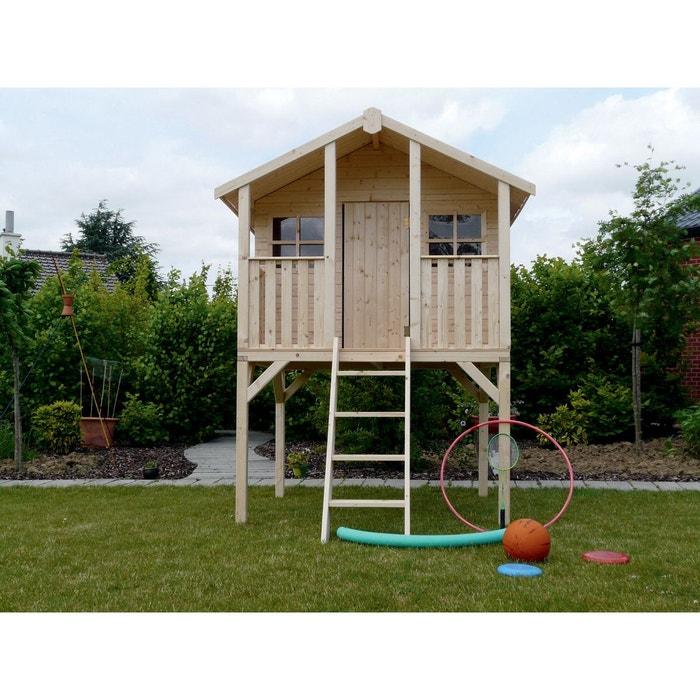 cabane pour enfants sur pilotis 1 8 x 1 9 m bois clair habitat et jardin la redoute. Black Bedroom Furniture Sets. Home Design Ideas