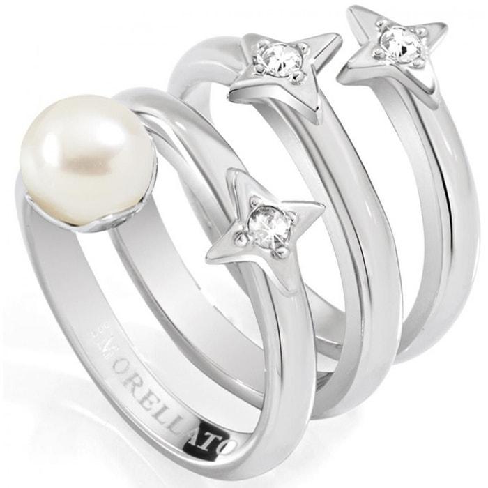 Anneau luci en steel, pearls, pierres