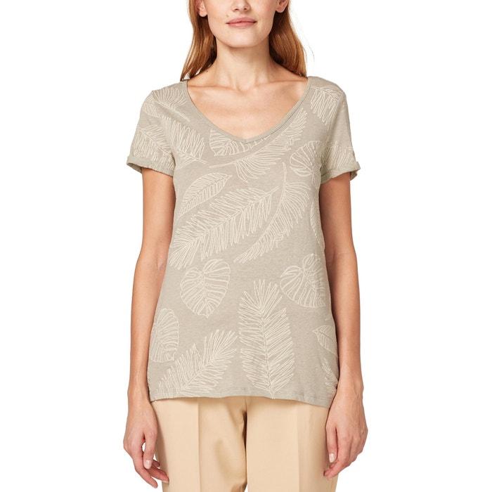 fa6dafaa415 T-shirt col v manches courtes coton et lin imprimé Esprit kaki clair ...
