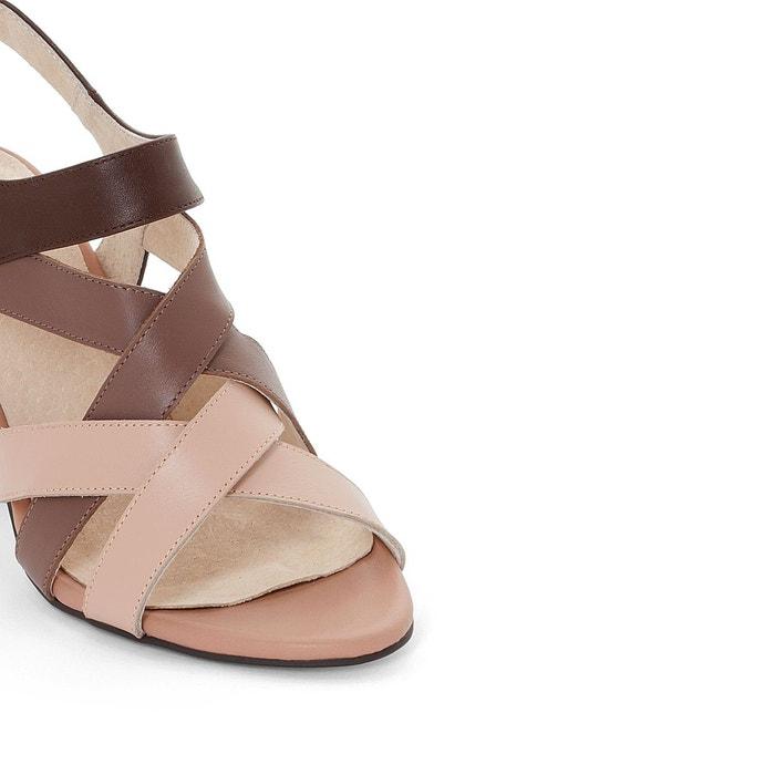 Sandales cuir multi brides marron La Redoute Collections
