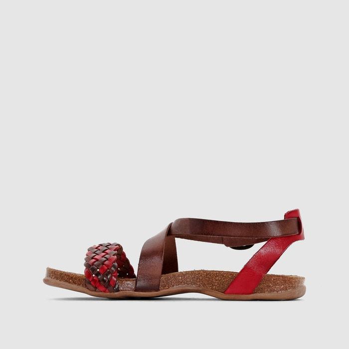 Sandales plates analogia de kickers, cuir marron rouge Kickers