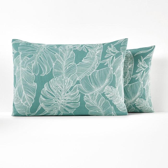 Palms Washed Cotton Pillowcase  La Redoute Interieurs image 0