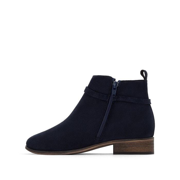 Boots cuir brodées bleu La Redoute Collections