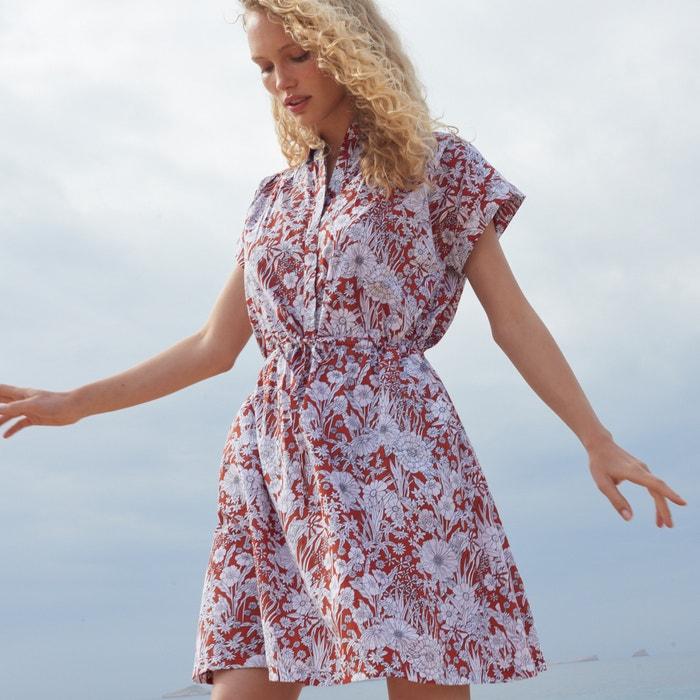 e96dfb711 Vestido-camisa, mangas curtas, estampado floral Vestido-camisa, mangas  curtas,
