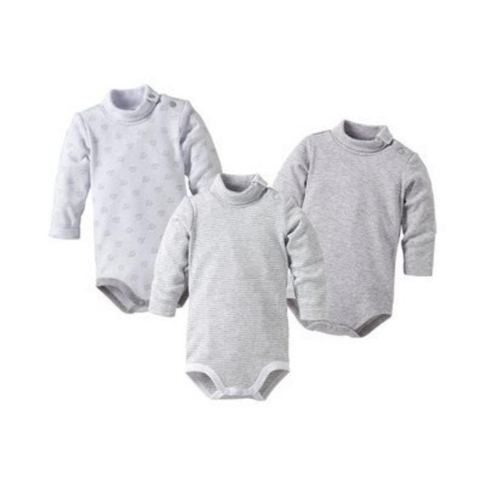 Bornino le lot de 3 bodys à col roulé à manches longues bébé blanc gris  Bornino  56c5fb3367d