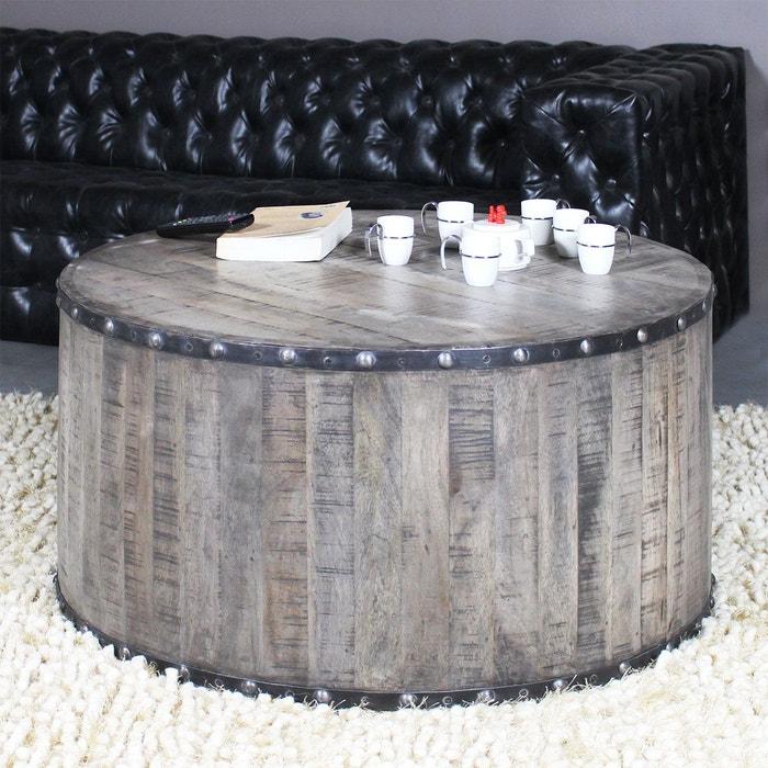 table basse industrielle effet rondin de bois if621 vieux bois made in meubles la redoute. Black Bedroom Furniture Sets. Home Design Ideas