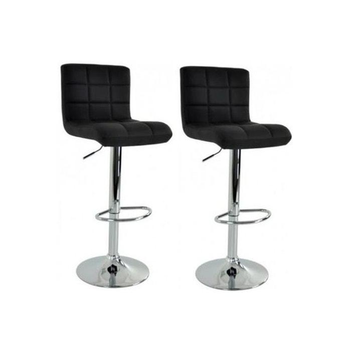 Lot de 2 chaises de bar design capitonn noir livi noir - Chaise de bar la redoute ...