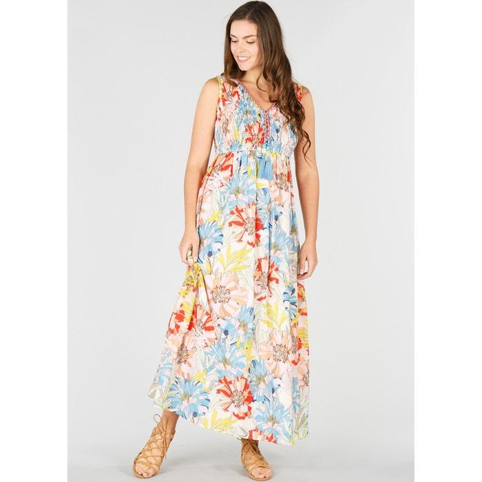 Langes, geblümtes, ausgestelltes Kleid, ohne Ärmel  RENE DERHY image 0