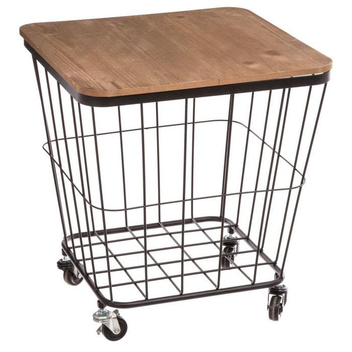 table d 39 appoint coffre roulettes style industriel noir et bois naturel pier import la redoute. Black Bedroom Furniture Sets. Home Design Ideas