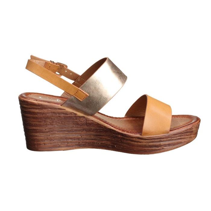 Sandale compensee à lanières marron Leader Mode ...