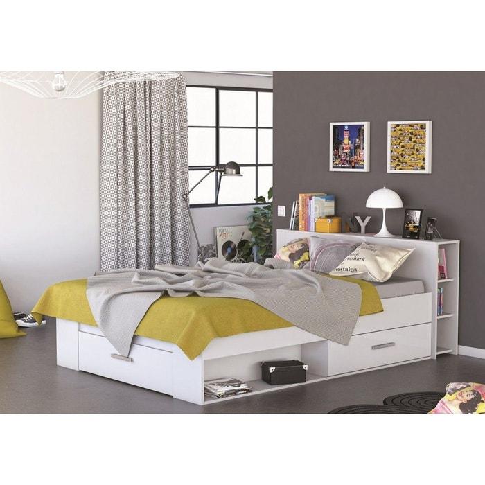 Lit en bois avec tiroir 140x190 blanc perle blanc terre de nuit la redoute - Lit 140x190 avec tiroir ...