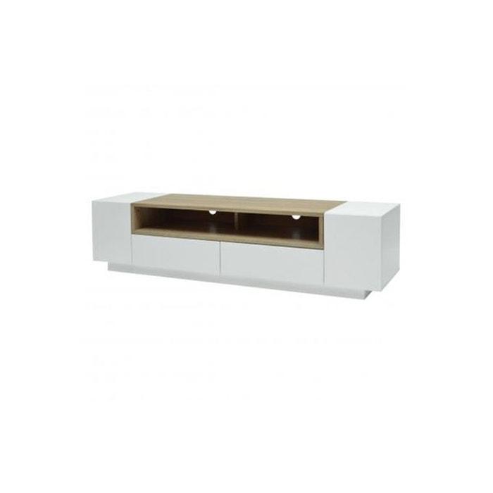 Meuble tv 2 portes 2 tiroirs laqu blanc et bois babena for Meuble tv grande taille