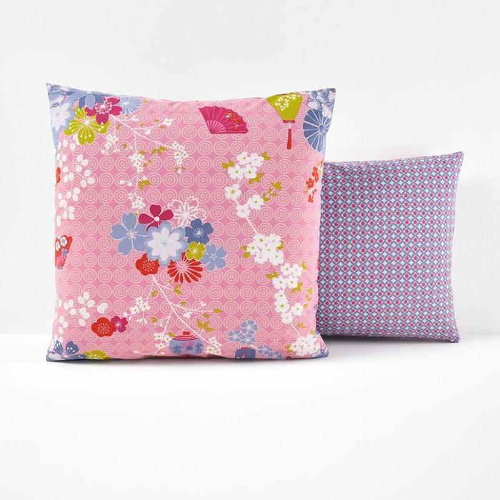 taie d 39 oreiller coton miss shangai imprim rose la. Black Bedroom Furniture Sets. Home Design Ideas