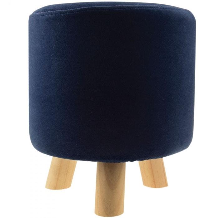 pouf velours rond london colorama bleu nuit bleu. Black Bedroom Furniture Sets. Home Design Ideas