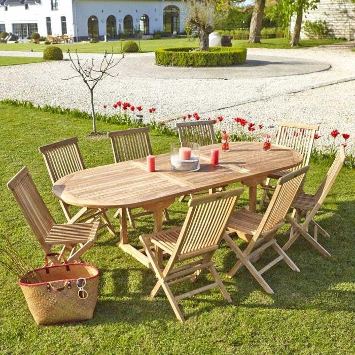 Salon de jardin en bois de teck 8 à 10 places teck naturel Bois ...
