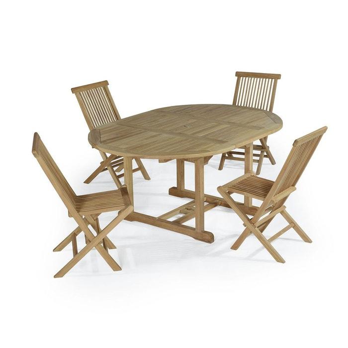 Salon de jardin en teck ecograde wesport, table ronde extensible ...