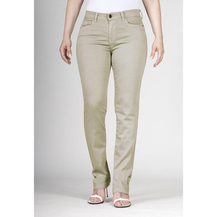 Jeans coupe droite taille haute stretch beige Ober   La Redoute