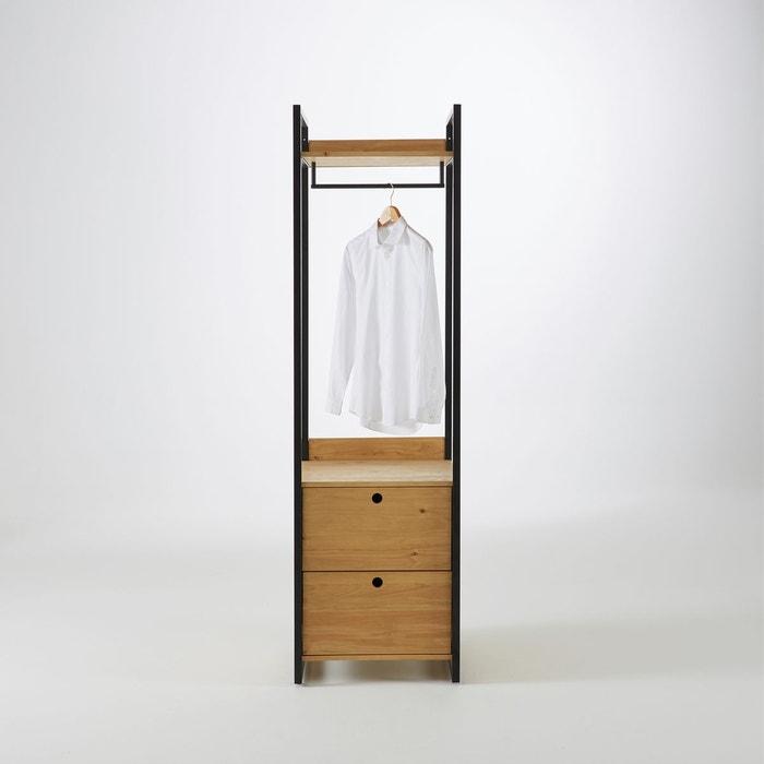 module penderie 2 tiroirs pin massif teint hiba bois. Black Bedroom Furniture Sets. Home Design Ideas