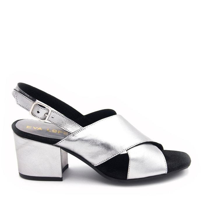 Sandales en cuir  argent Eva Lopez  La Redoute