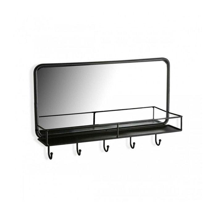 Miroir Mural Portemanteau Noir Rectangulaire Avec étagère 32cm 50cm