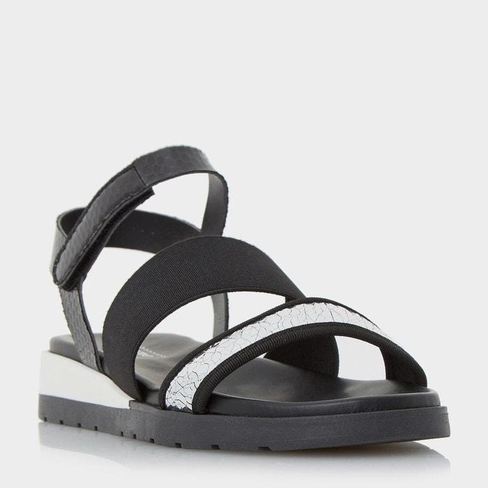 Multi strap flat sandal - lightening noir cuir Dune London