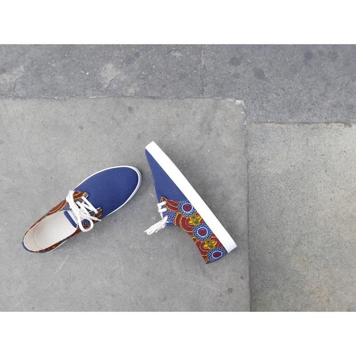 Basket à imprimé wax et toile bleu marine bleu Panafrica
