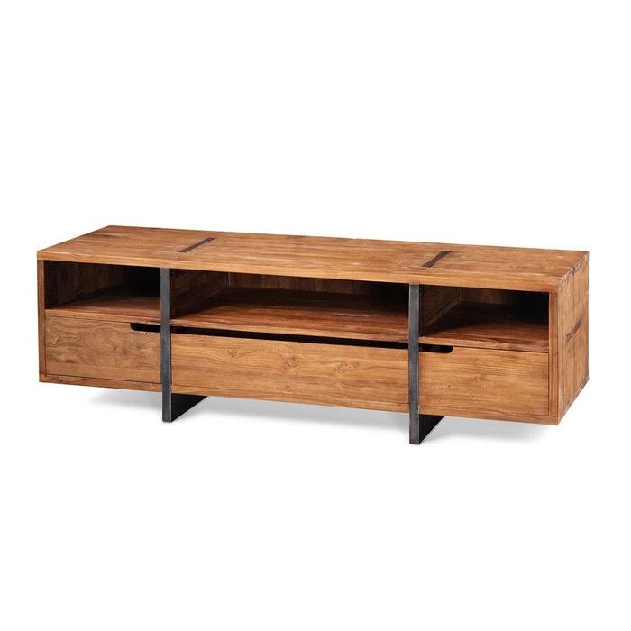meuble tv teck et m tal pacitan kha home design la redoute. Black Bedroom Furniture Sets. Home Design Ideas