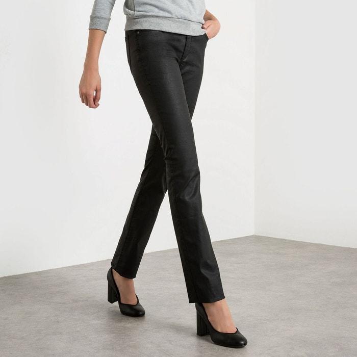 pantalon droit enduit marine r essentiel en solde la redoute. Black Bedroom Furniture Sets. Home Design Ideas