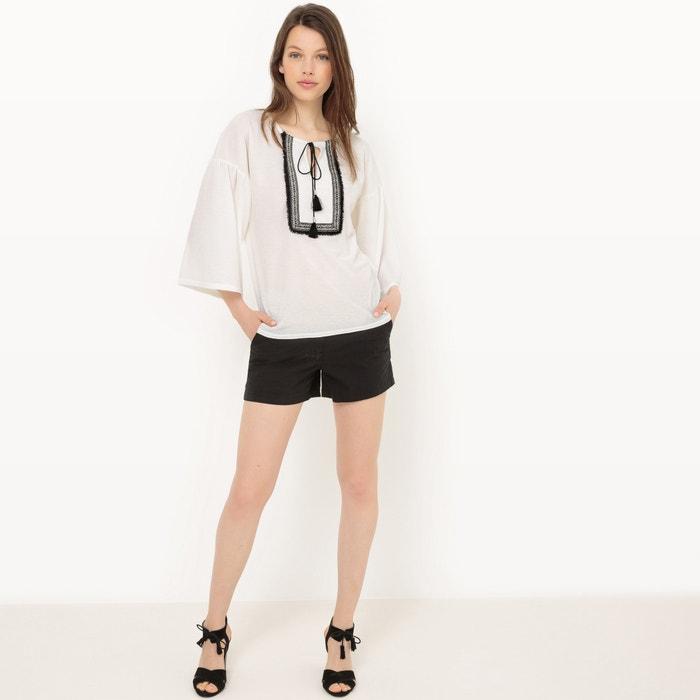 Image T-shirt manches courtes, frangé La Redoute Collections