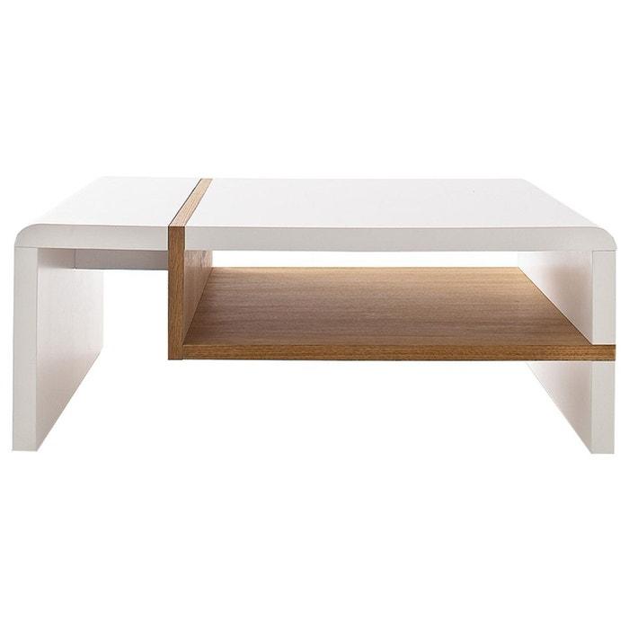 Table Basse Design Laquée Mat Blanc Et Plaquage Chêne Insert Bois