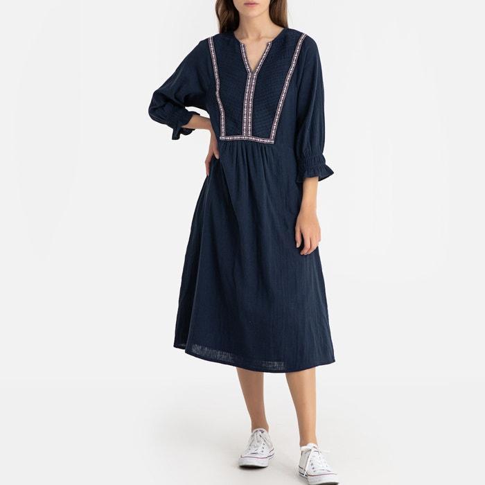 a3323b077 Vestido evasé con cuello tunecino y manga 3/4 azul marino La Redoute  Collections | La Redoute