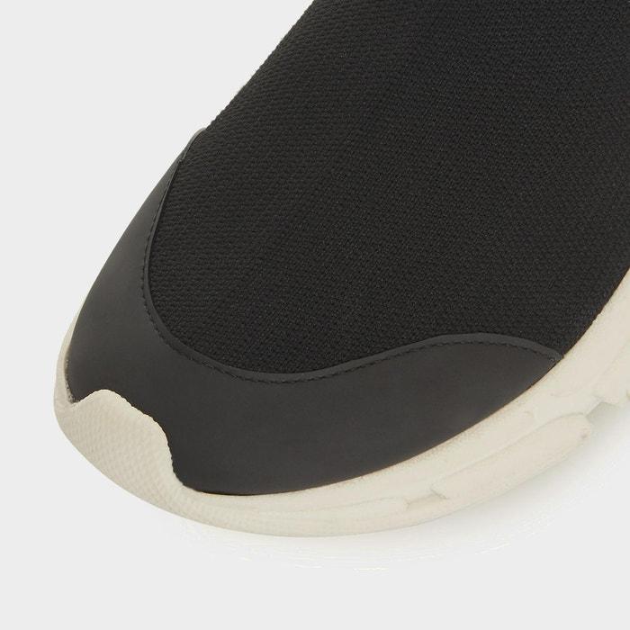 Baskets ajustées en maille à enfiler - everret noir tissu Dune London