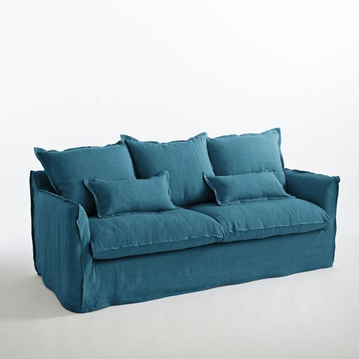 Canap fixe en lin froiss odna la redoute interieurs for Canape bleu indigo