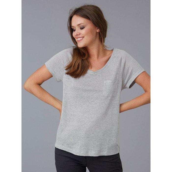 f889876ecaaf T-shirt femme jersey de lin col v