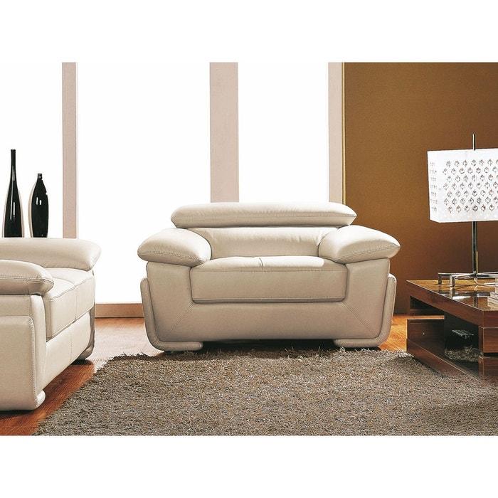 fauteuil cuir sena beige la maison du canape la redoute. Black Bedroom Furniture Sets. Home Design Ideas