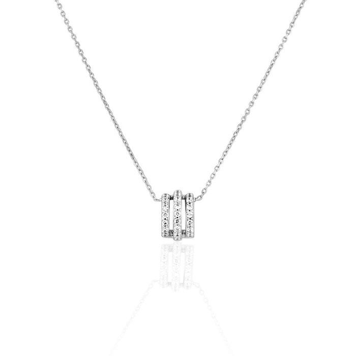 Collier en or 375/1000 blanc et oxyde blanc blanc Cleor | La Redoute D'origine Pas Cher UGkw0A