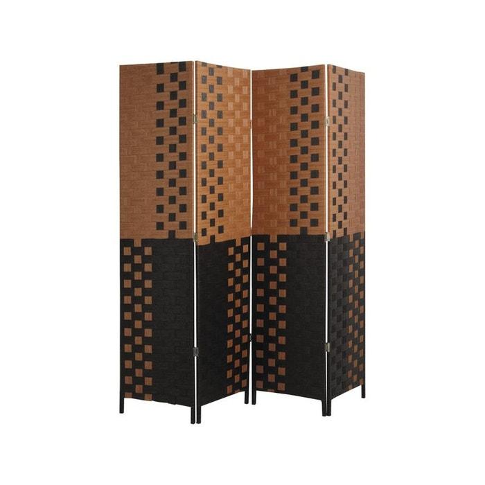 paravent 4 panneaux en bois et corde multicolore aubry gaspard la redoute. Black Bedroom Furniture Sets. Home Design Ideas