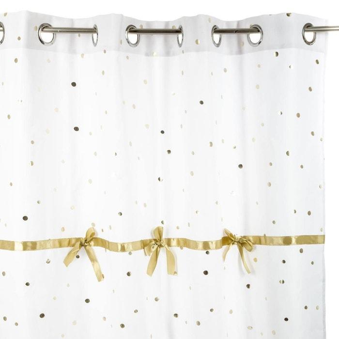rideau à œillets 140x260 cm demoiselle à pois et rubans dorés blanc