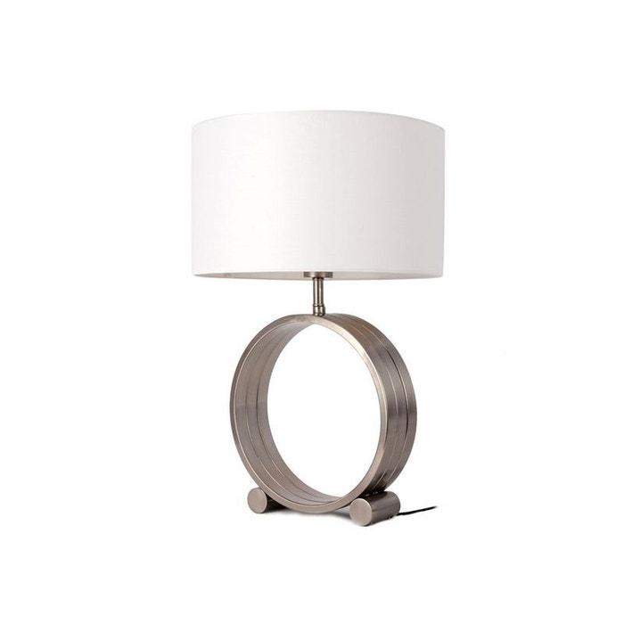 Lampe Pied En Metal Triple Anneaux Gris Et Blanc H60cm Gris Pier