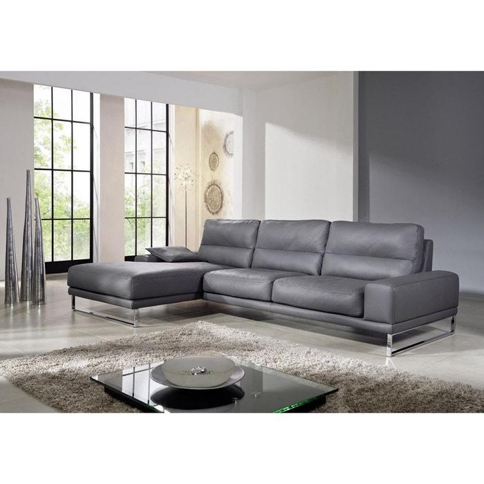 canap idol d 39 angle en cuir gris seanroyale la redoute. Black Bedroom Furniture Sets. Home Design Ideas