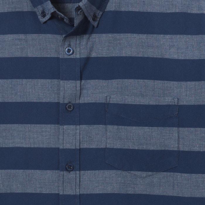 afbeelding Gestreept regular hemd in zuiver chambray katoen La Redoute Collections
