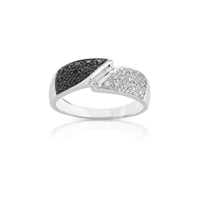3deb4a859fc Bague or 375 blanc diamant noir et blanc or Maty