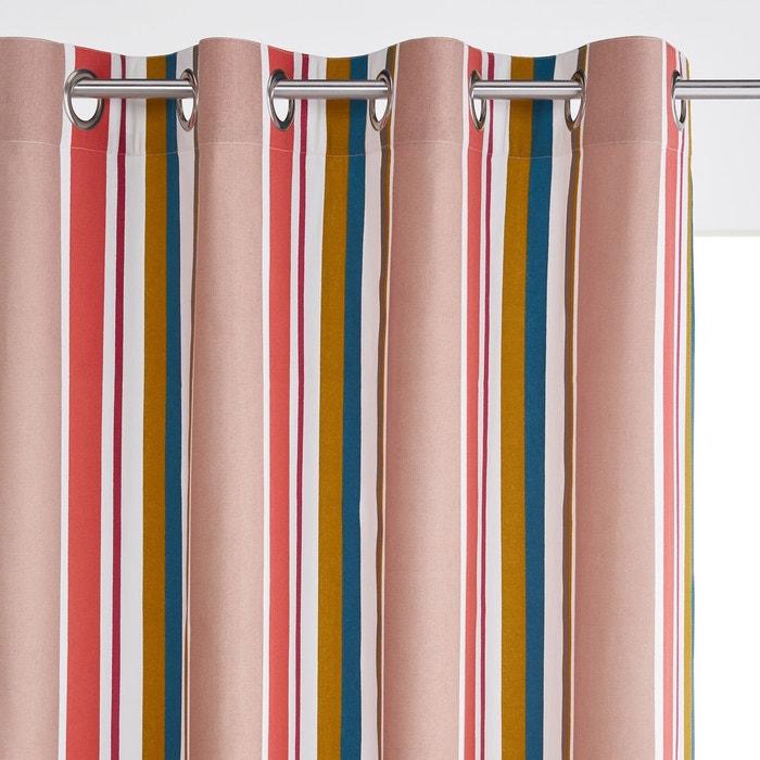 Rideau ray pur coton oeillets gaillac ray rose bleu for Rideau pour ne pas etre vu de l exterieur